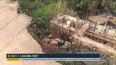 Obras para solucionar problemas em rua de Londrina já começaram - Desde 2016 moradores esperam pela obra.