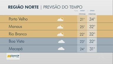 Confira a previsão do tempo para região Norte nesta quarta-feira (19) - Confira a previsão do tempo para região Norte nesta quarta-feira (19)