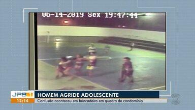 Homem agride criança em Campina Grande - Confusão aconteceu em brincadeira em quadra de condomínio.