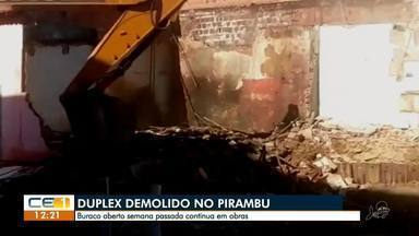 Parte de duplex é demolido no Pirambu e vizinhos reclamam de rachaduras - Confira mais notícias em g1.globo.com/ce