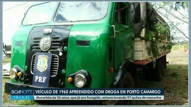Veículo de 1960 foi apreendido com droga em Porto Camargo - Motorista de 36 anos, que já era foragido, estava levando 97 quilos de maconha.
