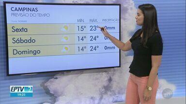 Confira a previsão do tempo na região - Em Campinas, a sexta-feira terá mínima de 15ºC e máxima de 23ºC.