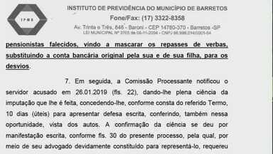 Ex-servidor é suspeito de desviar R$ 2,3 milhões do Instituto de Previdência de Barretos - Sindicância apontou que pagamentos de aposentados ou pensionistas mortos foram depositados na conta bancária dele.