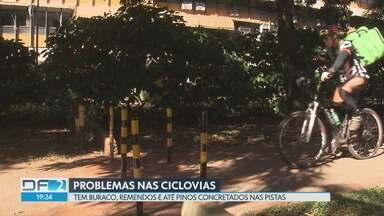 Pinos foram instalados em ciclovia do DF - Ciclistas reclamam que podem cair por não ver obstáculos