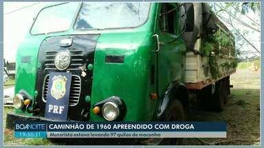 Caminhão fabricado em 1960 é flagrado com droga - Motorista estava levando 97 quilos de maconha.