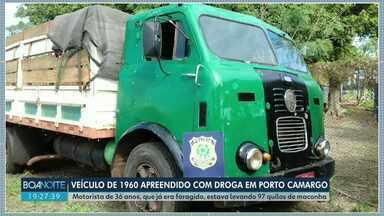 Caminhão de 1960 é apreendido com quase 100 quilos de maconha - A apreensão foi no posto da PRF de Porto Camargo.