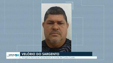 Corpo de sargento da reserva morto durante assalto é velado em Manaus - Sargento foi morto com dez tiros na noite desta quarta-feira (20) na Zona Leste de Manaus.