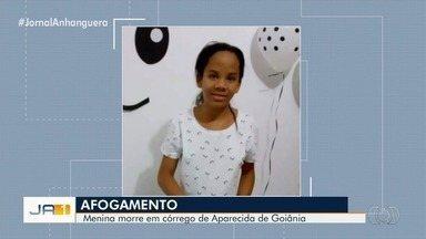 Corpo de menina que sumiu é encontrado em córrego de Aparecida de Goiânia - Segundo a família, adolescente desapareceu há cerca de dois dias, após sair com amigas. Elas teriam ficado com medo de contar sobre afogamento de Esther da Silva Araújo.