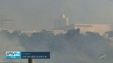 Fogo atinge matas nos bairros Vila Brandina e Vila União, em Campinas - Com apenas de 33% de umidade no ar, cidade está em estado de observação e com risco maior de queimadas.
