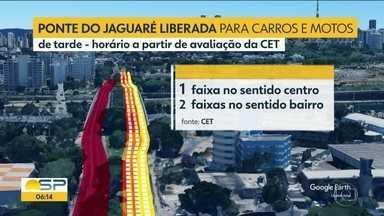 Ponte do jaguaré foi reaberta parcialmente - Carros e motos foram liberados pela CET para usar a estrutura em um esquema especial.