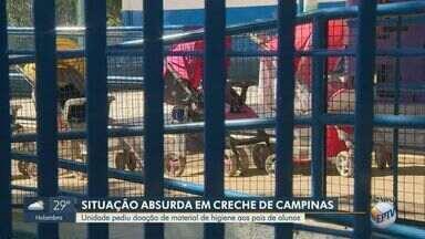 Creche de Campinas pede doação de material de higiene aos pais dos alunos - Comunicado da instituição de ensino revoltou pais dos alunos da creche.