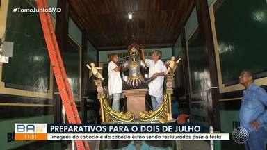 Dois de Julho: imagens do caboclo e da cabocla passam por restauração antes do desfile - Acompanhe os últimos preparativos para a comemoração da Independência do Brasil na Bahia.