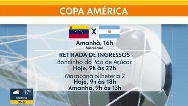 Ingressos à espera - Organização da Copa América alerta para necessidade de retirada dos entradas com antecedência para Argentina x Venezuela.
