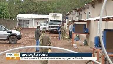 Uma tonelada e meia de carne é apreendida em Corumbá - Operação do Garras fez buscas em açougues, casas e escritórios.