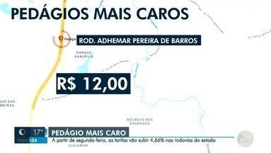 Tarifas de pedágio vão subir 4,66% nas rodovias do estado a partir de segunda-feira - Segundo o Governo do Estado de São Paulo, nos últimos 21 anos, o reajuste dps pedágios é aplicado todo dia 1° de junho, data que está nos contratos com as 19 concessionárias responsáveis pelas rodovias do estado.
