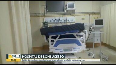 Paciente morre após ficar 1 mês internado na emergência do Hospital de Bonsucesso - A família do paciente reclama que ele ficou internado na emergência e sem atendimento médico adequado. A emergência do hospital foi fechada por falta de médicos no Hospital Federal de Bonsucesso.