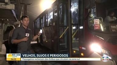 Passageiros reclamam dos ônibus da zona sul da capital - Ônibus velhos, sujos e perigosos. Uma passageira chegou a se cortar dentro de um ônibus na zona sul