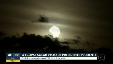 Eclispe solar foi visto no interior do Estado - No Brasil, foi possível ver apenas 26% do Sol preenchido pela lua.