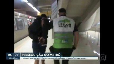 Homem foge pelos trilhos da linha quatro do metrô do Rio. - Um homem fugiu dos agentes Leblon Presente e correu pleos trilhos do metrô. A energia elétrica foi desligada por questões de segurança.Passageiros ficaram nos vagões sem luz. O homem, que já tinha madado de prisão por violência doméstica, foi preso.