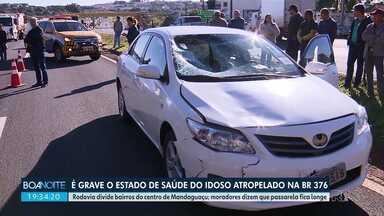 Idoso atropelado na BR 376 está em estado grave - Rodovia divide bairros do centro de Mandaguaçu; moradores dizem que passarela fica longe.