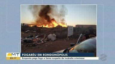 Ecoponto pega fogo em Rondonópolis e a suspeita é de incêndio criminoso - Ecoponto pega fogo em Rondonópolis e a suspeita é de incêndio criminoso