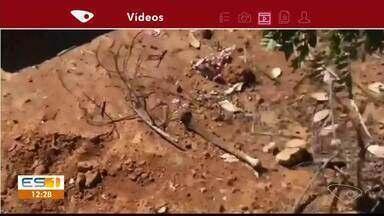 Cemitério tem ossos expostos, covas abertas e caixões destruídos em Apiacá, ES - Moradores do bairro estão preocupados.