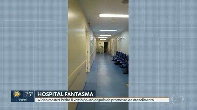 Pacientes encontram hospital Pedro II sem funcionários para atender - Paciente gravou um vídeo onde mostra o hospital Pedro II vazio, sem funcionários para atender. Secretária municipal de saúde prometeu que o atendimento seria normalizado, mas pacientes não conseguem atendimento médico.
