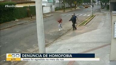 Jovem denuncia que foi agredido em Goiânia por ser homossexual - Vítima disse que foi xingada e também apanhou. 'Eu sofri um crime de homofobia', contou.