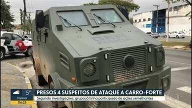 Polícia prende quatro suspeitos de ataque a carro-forte na região de Sorocaba - A polícia disse que monitorava essa quadrilha desde o ano passado. Segundo as investigações, eles já tinham roubado pelo menos cinco carros-fortes.