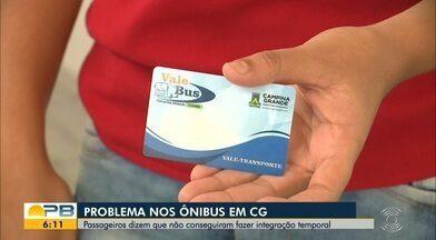 Passageiros dizem não conseguir fazer integração temporal nos ônibus, em Campina Grande - Confira os detalhes com o repórter Felipe Valentim.
