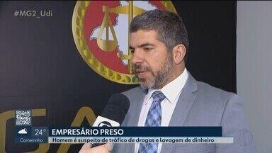 """Empresário suspeito de tráfico de drogas em Uberlândia é preso em Ribeirão Preto - Gaeco suspeita que ele participou de roubo de carga de cocaína que envolveu policiais civis em Uberlândia. Prisão é desdobramento das operações """"Fenix"""" e """"Serendipe""""."""