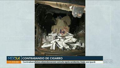 Contrabandista abandona carro com cigarro após acidente em Iporã - Outro contrabandista foi morto pela PRF nesta semana, após perseguição.