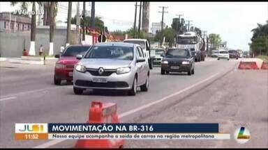 Veja a saída de veículos da região metropolitana de Belém - Trânsito de veículos na BR-316 é intenso
