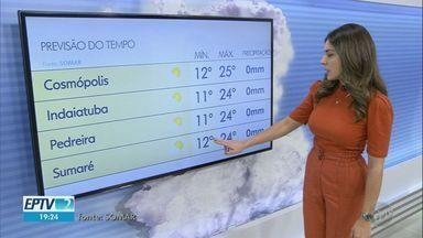 Confira a previsão do tempo para as cidades da região neste sábado - Sem previsão de chuva, Campinas (SP) registra máxima de 24ºC.