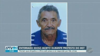Idoso de 72 anos morto durante protesto do MST é enterrado em Hortolândia - Suspeito está preso e irá responder por homicídio doloso, lesão corporal dolosa e fuga do local do acidente.