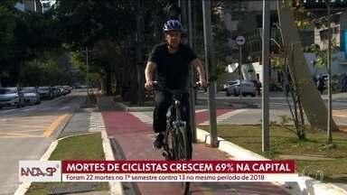 Número de mortes de ciclistas cresce 69% na capital - Primeiro semestre de 2019 tem o pior índice desde 2015, quando o sistema de dados do governo foi criado. Já no estado, as mortes fatais no trânsito caíram 2%, de acordo com o Infosiga.