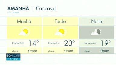 Previsão de sol para a região oeste neste fim de semana - Em Cascavel a tarde promete ser mais quente com máxima de 23 graus.