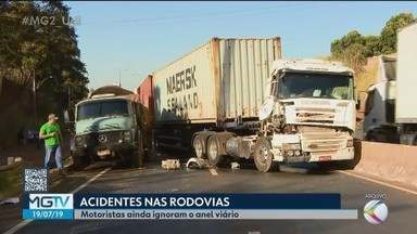 Quantidade de acidentes nas rodovias que cortam Uberlândia preocupa autoridades - Em 2019, nas rodovias BRs 365 e 050 a Polícia Rodoviária Federal registrou 106 ocorrências de acidentes. No ano passado foram 236.