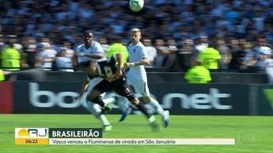 As notícias do esporte - Vasco venceu o Fluminense de virada. Botafogo perdeu para o Santos. Flamengo empatou com o Corinthians.