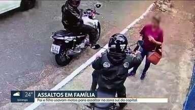 Pai e filho usavam motos para assaltar na Zona Sul de São Paulo - Ernesto Marques da Silva Filho, de 44 anos, e Leonardo Marques da Silva, de 25 anos, pai e filho, foram reconhecidos por uma das vitimas que foi assaltada no fim de junho.