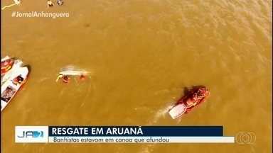 Canoa afunda no Rio Araguaia e cinco pessoas são resgatadas por bombeiros, em Aruanã - Suspeita é que excesso de peso com bagagens tenha feito o barco virar.