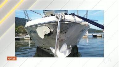 Marinha vai apurar causa do acidente entre duas lanchas em Bertioga (SP) - O acidente ocorreu no canal de Bertioga. Câmeras de uma das embarcações registraram a batida.