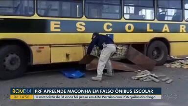 Maconha é encontrada em falso ônibus escolar - O motorista de 31 anos foi preso em Alto Paraíso com 936 quilos da droga.