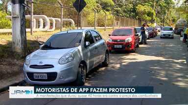 Motoristas de app fazem protesto em Manaus contra preços de combustíveis - Manifestação durou quase 40 horas.