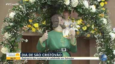 São Cristóvão é homenageado em Salvador com missa e evento promovido pelos rodoviários - O santo, que é considerado o padroeiro dos motoristas, dá nome a paróquia e a um bairro da capital baiana.