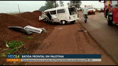 Uma pessoa morre e outras oito ficam feridas em acidente na PR-182 em Palotina - Rodovia ficou interditada parcialmente por quatro horas.