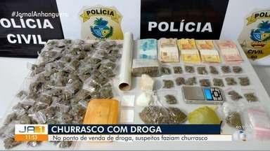 Preso trio suspeito de fazer churrasco para disfarçar tráfico de drogas, em Pontalina - Segundo a polícia no local funcionava um ponto para venda de drogas.