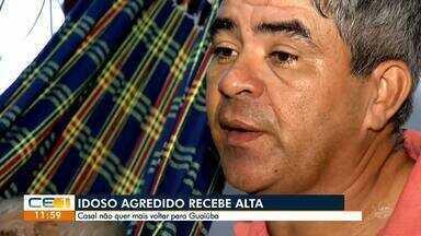 Idoso agredido em Guaiuba recebe alta - Saiba mais em g1.com.br/ce