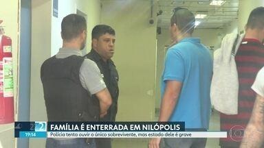 Polícia tenta ouvir sobrevivente de família baleada, mas estado dele é grave - Mulher e dois filhos foram enterrados na tarde desta quinta-feira (25) em Nilópolis.