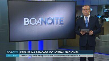 Paraná na bancada do Jornal Nacional - O apresentador Sandro Dalpícolo vai representar o Paraná nas comemorações de 50 anos do JN. Ele vai apresentar o Jornal Nacional por um dia.